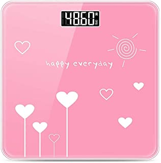 YQSHYP Weight Scale, High Accuracy Digital Bathroom Scale, Electronic Weighing Scales with Wide Tempered Glass Platform,Slim Design, 180kg Capacity, Pink