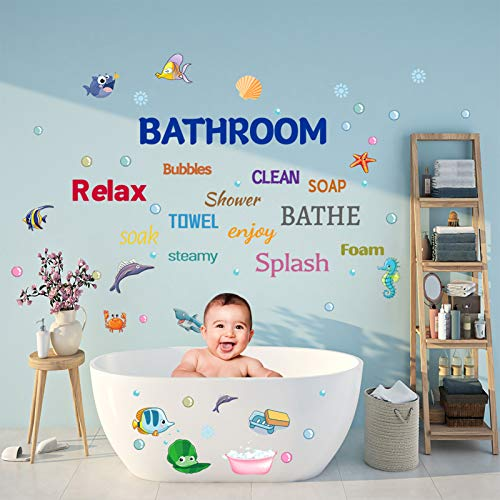 Sea Life Bathroom Wall Stickers Under The Sea Fish Wall Decor, DILIBRA Removable Peel and Stick Waterproof Wall Art Stickers Decals for Kids Room Nursery Living Room Bathroom Playroom Classroom