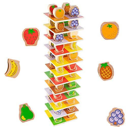 LBLA Holzstapelblock, Obststapelbrett für Kleinkinder Montessori Pädagogisches Holzspielzeug Mit 60 Stück