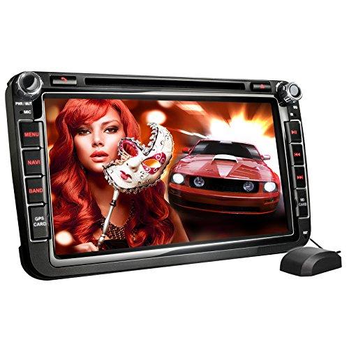 XOMAX XM-05G Autoradio passend für Volkswagen VW I Skoda I SEAT I mit GPS Navigation I Navi Software I Bluetooth Freisprecheinrichtung I 20 cm 8 Zoll Touchscreen Bildschirm I DVD, CD, SD, USB