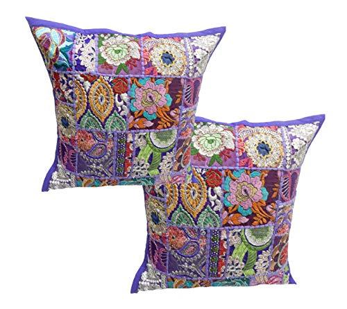 Handicraft Bazarr - Juego de 2 Cojines de algodón Bordados, cojín de Patchwork, Hecho a Mano, Almohada de Patchwork, Funda de Almohada étnica de Patchwork