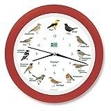 KOOKOO Singvögel Erdbeer-rot, Die Singende Vogeluhr, mit 12 heimischen Singvögeln und echten, natürlichen Vogelstimmen, mit RC Funkquarzwerk und Lichtsensor