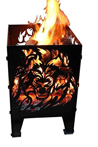 Feuerkorb Feuersäule Design: Löwe Gr. XXL 35,5x37x75cm, 14,5kg aus 2mm Rohstahl
