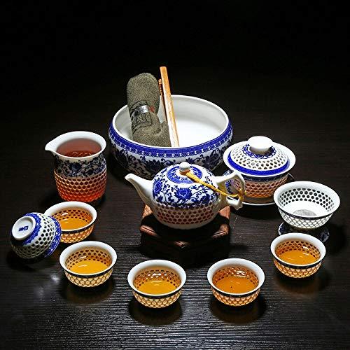 Juegos de té Juego De Té De Kung Fu De Panal Hueco De 11 Piezas, Vajilla De Porcelana Azul Y Blanca, Taza De Té De Vidrio De Cerámica, Tetera, Colador Gaiwan, Taza Justa