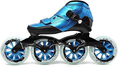 Skate Rollhockey Adult Geschwindigkeit Inline-Skates Unisex Professionelle Inline Speed Skates High Performance einreihig Skates Geschwindigkeit Rollschuh Outdoor-Anfänger, Blau, 42EU, Größe: 45EU,
