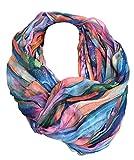 JameStyle26 Farbverlauf Seide Sommer Loop Verlauf Regenbogen Rainbow Silk Uni Rundschal Schlauchschal Stola Schal leicht (Blau)