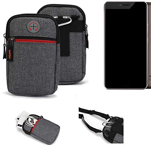 K-S-Trade® Gürtel-Tasche Für Allview X4 Xtreme Handy-Tasche Holster Schutz-hülle Grau Zusatzfächer 1x