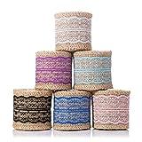 Tinksky Cintas de tela de arpillera decorativas Rollo de yute con encaje para regalos de artesan/ía Proyectos de bricolaje 200x5cm A