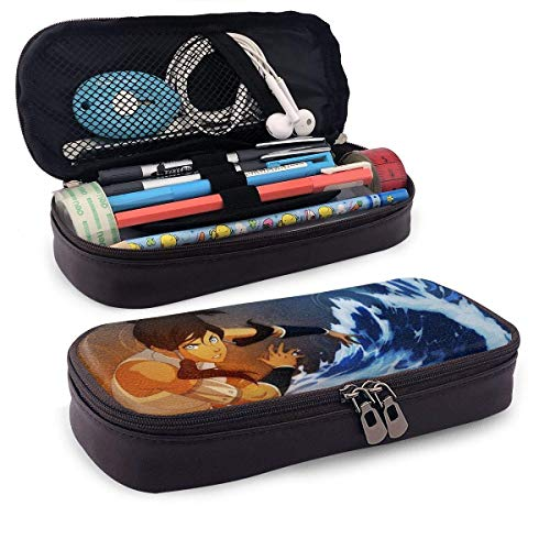 XCNGG Avatar The Last Legend Airbender of Korra Aang Leather Pencil Case, High Capacity Student Stationery Bag, Pencil Case, Portable Pencil Case for School and Office Supplies