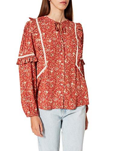 Springfield Blusa Volantes Estampada Camisa, Tostado, 42 para Mujer