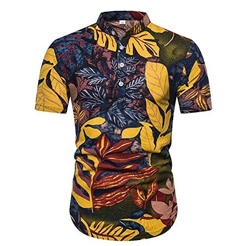 Playa Shirt Hombre Verano Personalidad Hombre Henley Camisa Color Estampado Manga Corta Deportiva Camisa...