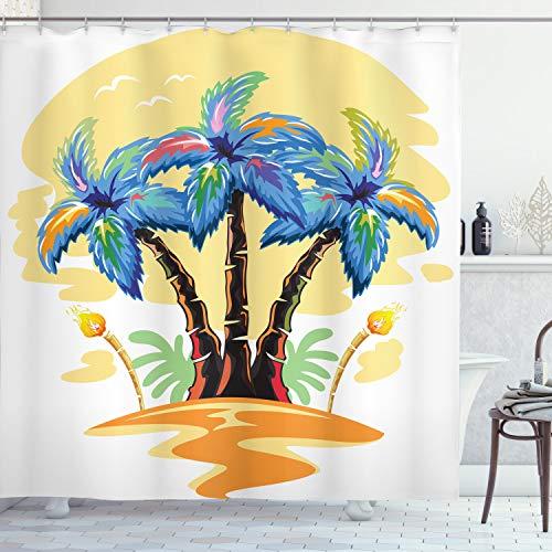 ABAKUHAUS Palmboom Douchegordijn, Cartoon Island Sunset, stoffen badkamerdecoratieset met haakjes, 175 x 200 cm, blauw Oranje