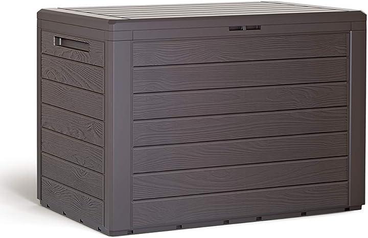 Baule da giardino effetto legno coperchio ribaltabile contenitore box deuba 108494