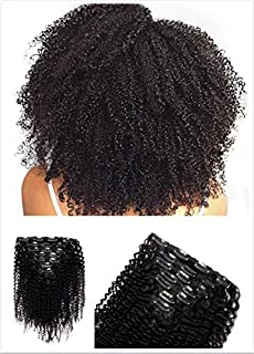Afro Kinky Curly Clip In Human Hair Extensions 8A Grade Virgin Unprocessed Hair 12-28 inches Full Head 8Pcs/Set … (12INCH/30CM)