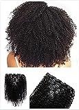 Lot de 8 Clips de boucles Afro frisées en extension de cheveux humains Cat. 8A Cheveux non traités vierges 30,4–71,1cm Tête complète