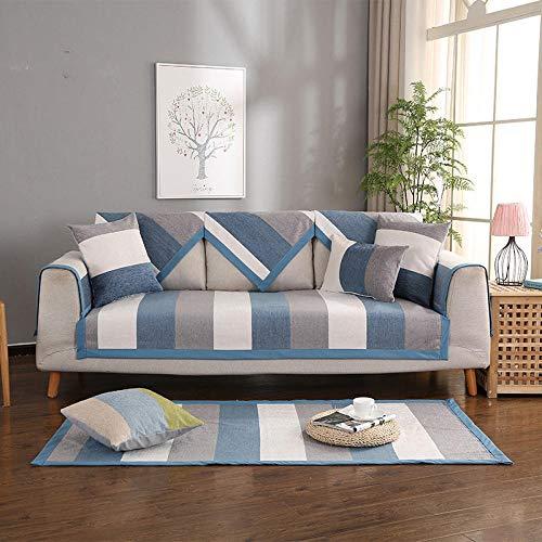 B/H Tejido Poliéster Poliéster Sofa Cubre,Funda de sofá de Tela Simple, cojín de sofá Universal Antideslizante-Blue_70 * 210cm,poliéster y Elastano Funda sofá