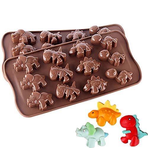 Babarella Backformen aus Silikon 2er Set in Dinosaurier-Form antihaft schadstofffrei für Schokolade, Süßigkeiten, Kuchen, Pudding, Gelee und Waffel