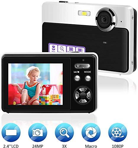Digitalkamera Mini Videokamera Point and Shoot-Kamera 2,4 Zoll 24MP HD Vlog Kamera Fotoapparat Blogging Kamera Kompakte und tragbare Selfie-Kamera