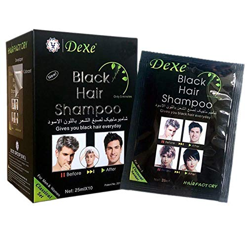 10 PCS Dexe Black Hair Shampoo Instant Hair Dye for Men Women Black Color - Simple to Use - Temporary Hair Dye- Last 30 days - Natural Ingredients, Great Choice for Woman&Man