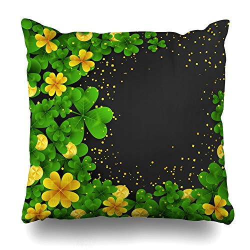 LLiopn Throw Pillow Cases Decorative Soft Square,Saint Patrick Day Green Gold Four Three Leaf Clovers Golden Coins Party ,Throw Pillow Cover Cushion Case for Sofa 16x16 inches