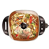 BELLA (14607) 12 x 12 Inch Electric Skillet with Copper Titanium Coating, 1200 Watts Immersible Non-Stick Multipurpose Skillet with Tempered Glass Lid(multi-functional, 12 x 12 Inch)