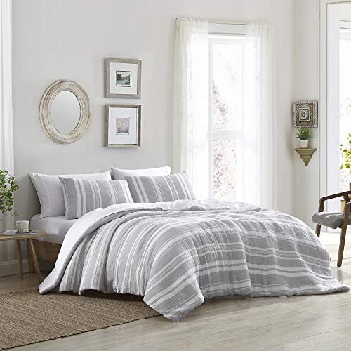 Brielle Quartz Striped Cotton Gauze Comforter Set, Grey/White, King