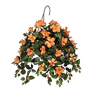 House of Silk Flowers Artificial Orange Hibiscus in Water Hyacinth Hanging Basket (Natural Water Hyacinth)