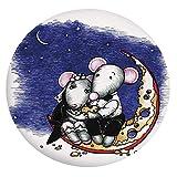 Mantel ajustable de poliéster con bordes elásticos, para parejas de ratón, sentado en el queso, con sabor a luna y novio, para boda, para mesas redondas de 36 a 40 pulgadas, para comedor y fiesta