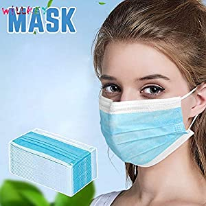 Disposable Earloop Face Mask-Protect Yourself from Dust, Germs and Pollen – Ideal for Medical, Surgical, Catering and Construction Workers (100, Blue)