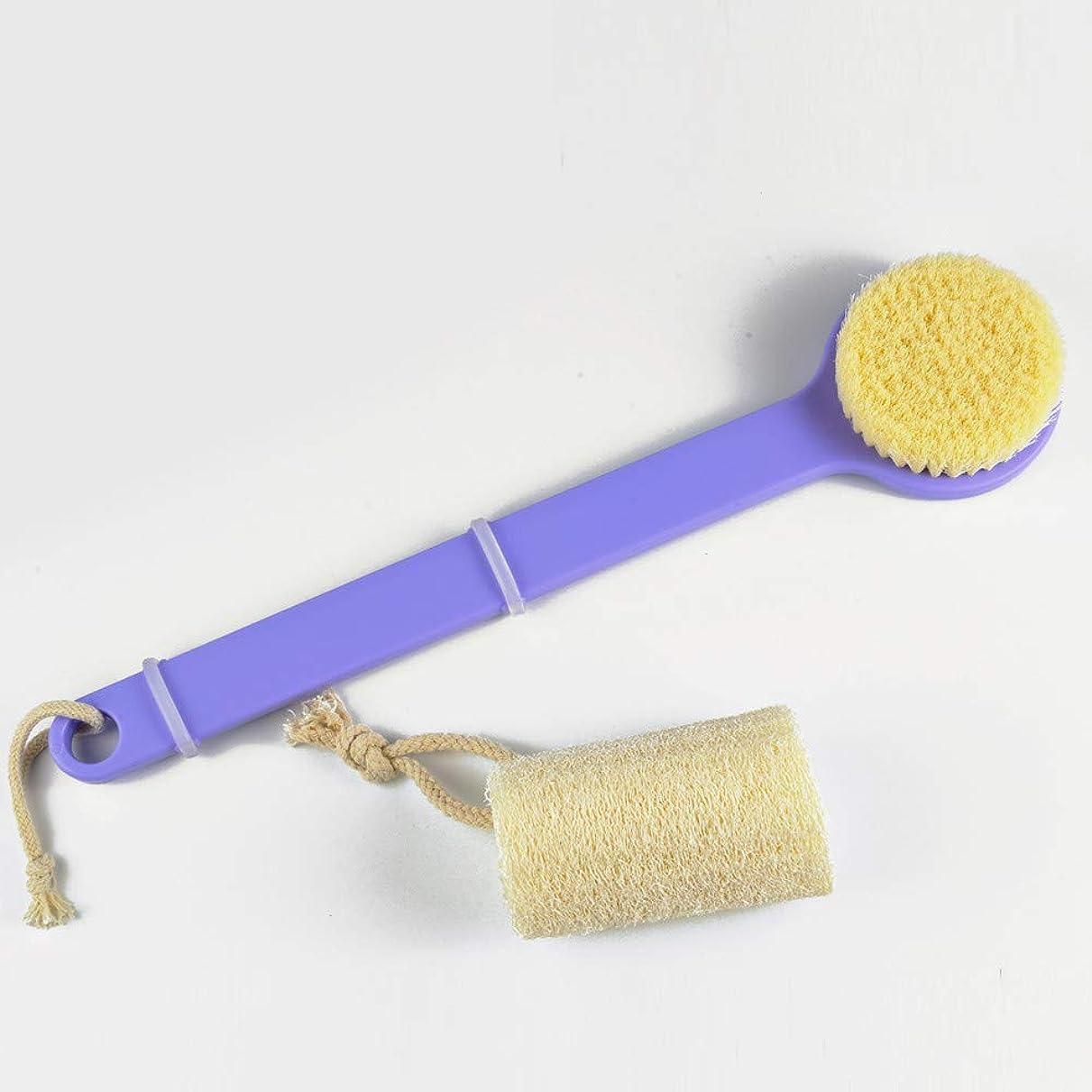 スイへこみがんばり続ける絶妙で小さなQ 柔らかい髪のボディブラシ天然へちまの湯沸かし器浴槽セット長いハンドル パープル