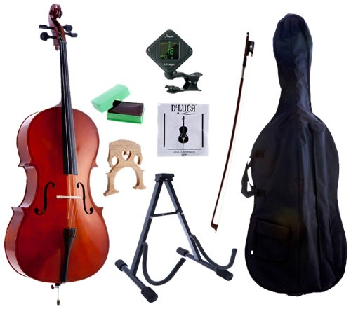 D'Luca MC100-1/4 Meister Student Cello 1/4 Package with Free Stand, Bag, Strings, Chromatic Tuner, Rosin and Bow