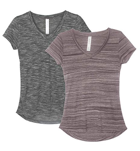 icyzone Workout Shirts for Women - Yoga Tops Activewear Gym Shirts Running Fitness V-Neck T-Shirts (Heather Charcoal/Burgundy, L)