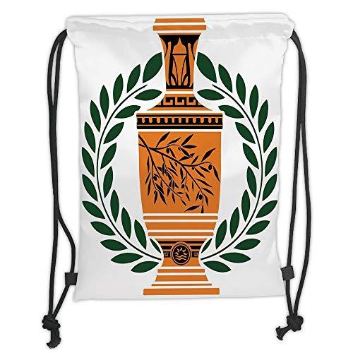 Fevthmii Drawstring Backpacks, Toga Party, Old Antique Greek Vase mit Olive Branch, Motiv und Laurel Wreath, Hunter Green Orange Black Soft Satin, 5 l, verstellbar, String Closur