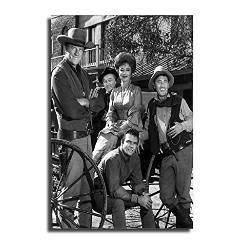 FINDEMO Gunsmoke Cast James Arness Amanda Blake Burt Reynolds Ken Curtis Canvas Art Poster and Wall Art Picture Print Modern Family Bedroom Decor Posters 24×36inch(60×90cm)