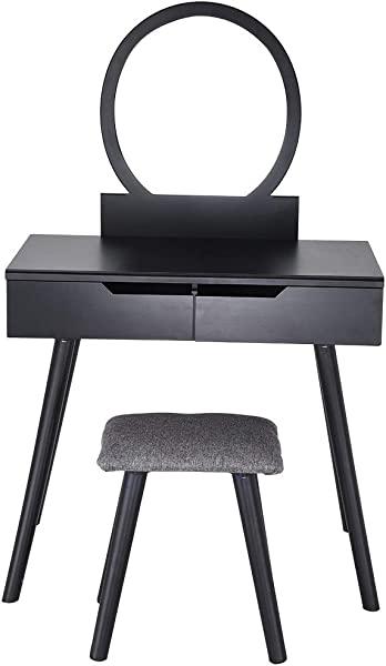 Vanity Table Set With Round Mirror 2 Large Sliding Drawers Makeup Dressing Table With Cushioned Stool Ship From US Black
