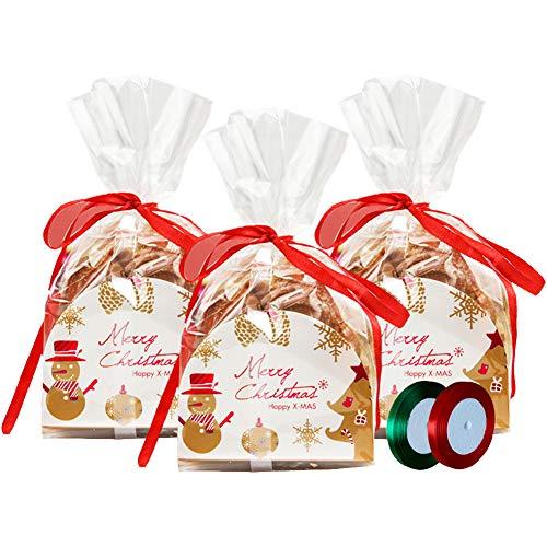 Sacchetti di Cellophane Natale Borse Trasparente Borse Goodies 50 pezzi di sacchetti natalizi con 50 pezzi di carta di buon Natale rosso e 2 rotoli di nastro e forniture per feste di Natale (Style-1)