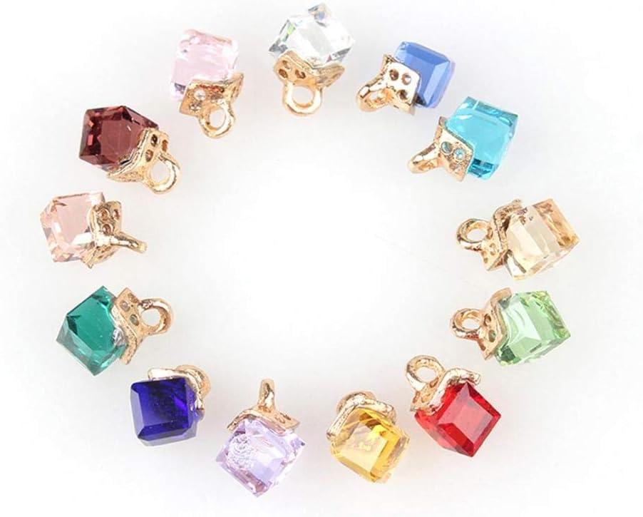 Haiabei [Alternative dealer] 90 Pcs Square quality assurance Geometric Charms Crystal Drop Pendant Oil