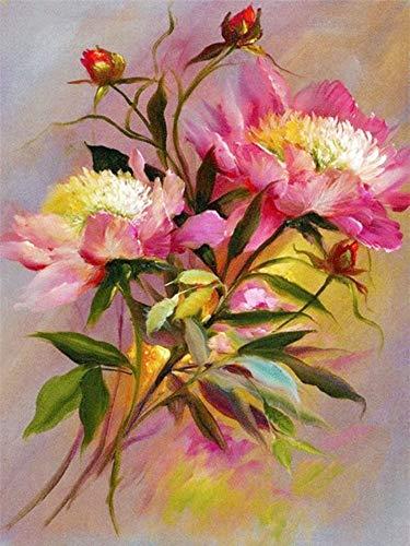 5D Principales Pinturas de Moda Planta de Resina Pastoral Venta Directa Flor de Diamante Pintura Diy Punto de Cruz Mosaico 40X50Cm