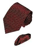 LORENZO CANA - Marken 2 er Set aus 100% Seide - Krawatte mit Einstecktuch - Kastanienbraun Gelbe Tupfen - 8411501