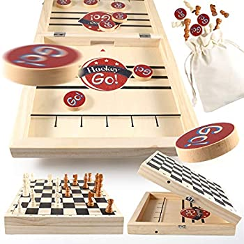 Large Fast Sling Puck Game & International Chess 2 in 1 Foldable Wooden Hockey Game with Bag Desktop Slingshot Board Game for Family Party Travel