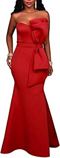 Women's Sexy One Shoulder Ruffles Mermaid Gown Maxi Evening Party Dress