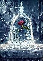 5dダイヤモンド絵画セット、カップのバラの花、クリスタルラインストーン刺繡、家の壁の装飾ギフトに使用-スクエアダイヤモンド_50 * 60
