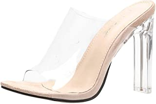 42e4f4d3 Sandalias Transparentes de tacón Alto para Mujer Tacón Fino Peep Atractivo Sandalias  de Tacones Altos Talon