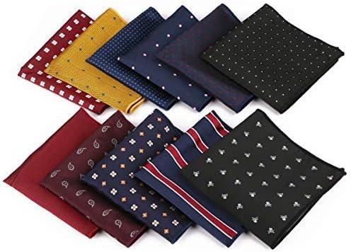 Driew 11 Pcs Men Suit Pocket Square Handkerchiefs with Assorted Pattern