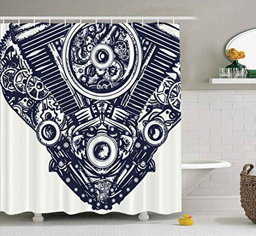 Shorping 66X72 Shower Curtain, Shower Curtain Colorful Shower Curtain Mechanical Heart Tattoo Steampunk Engine Art Bath Shower Curtain Waterproof Decor Bathroom Set with Hooks