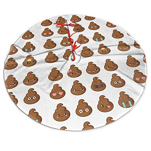 Yaateeh Cute Poop Icons 48' Traditional Red Christmas Tree Skirt Santa & Reindeer Xmas Ornaments Tree Skirt for Christmas Holiday Party Decorations