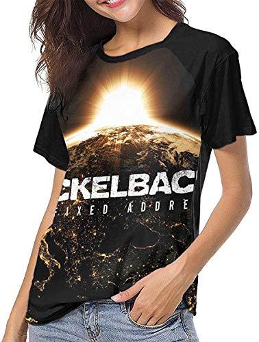 Kurzarm T Shirts für Frauen,Blusen für Damen Nickelback Womens Baseball Short Sleeve Round Neck T Shirt Summer Ladies Printing Casual Crop