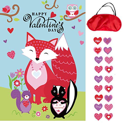 Valentines Day Pin the Heart on the Fox Party Game Valentines Day Decorations