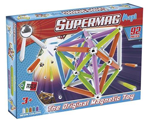 Supermag Toys- Maxi Neon 92 Gioco di Costruzione Magnetico, Multicolore, 100