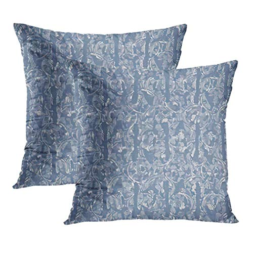 Y·JIANG Blue Cushion Cover, French Farmhouse Linen Summer Block Provence Gray Rustic Shabby Chic Soft Velvet Square Cushion Case Couch Cover Pillowcase for Sofa Chair Bedroom, 16 X 16 Inch, Set of 2